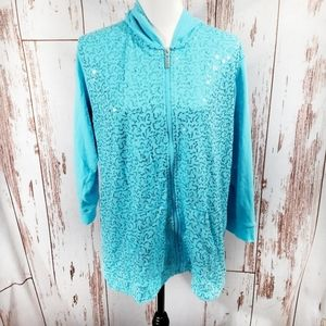 Quacker Factory ice blue sparkly hoodie XL
